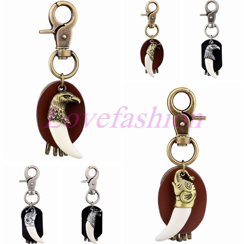 Men's Genuine Leather Keyfob Retro Bronze Resin Wolf Tooth Eagle Car Keychain