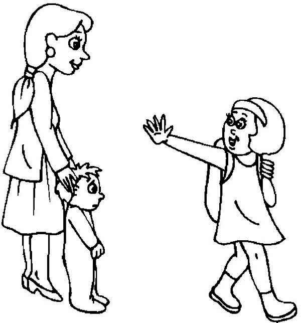 A Little Girl Say Good Bye To Her Family Before Going Back To School Coloring Page Paginas Para Colorir Colorir
