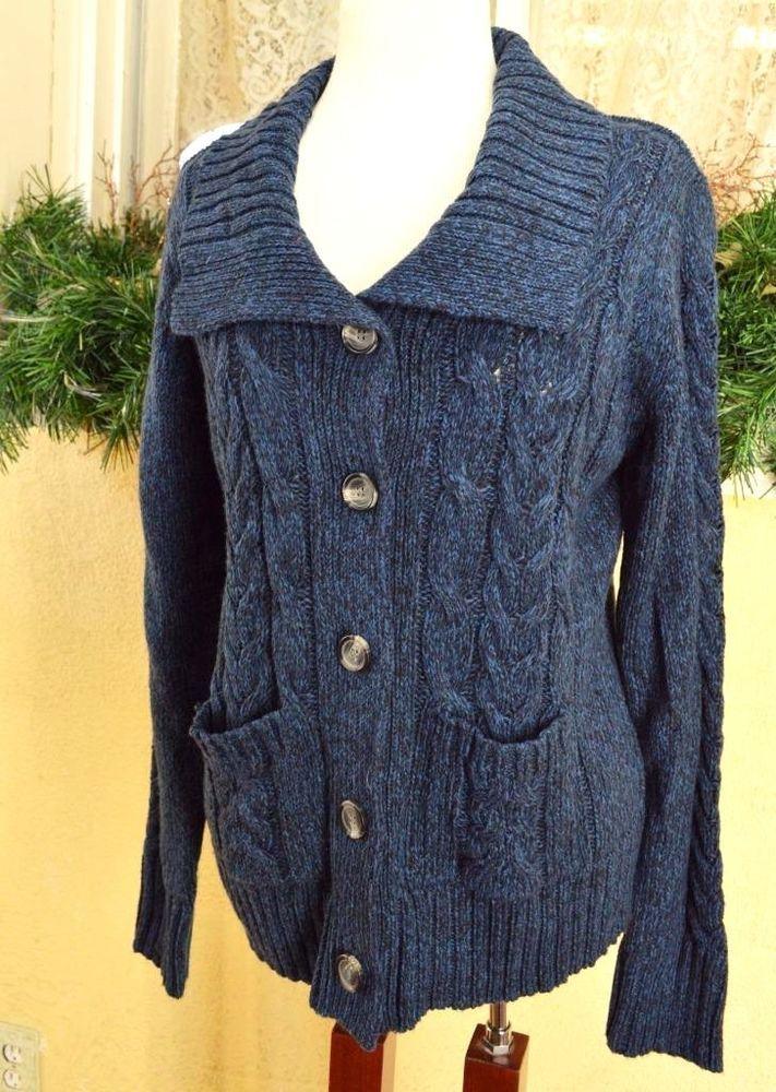 St John's Bay L Cardigan Sweater Blue Variegated Wide Collar ...