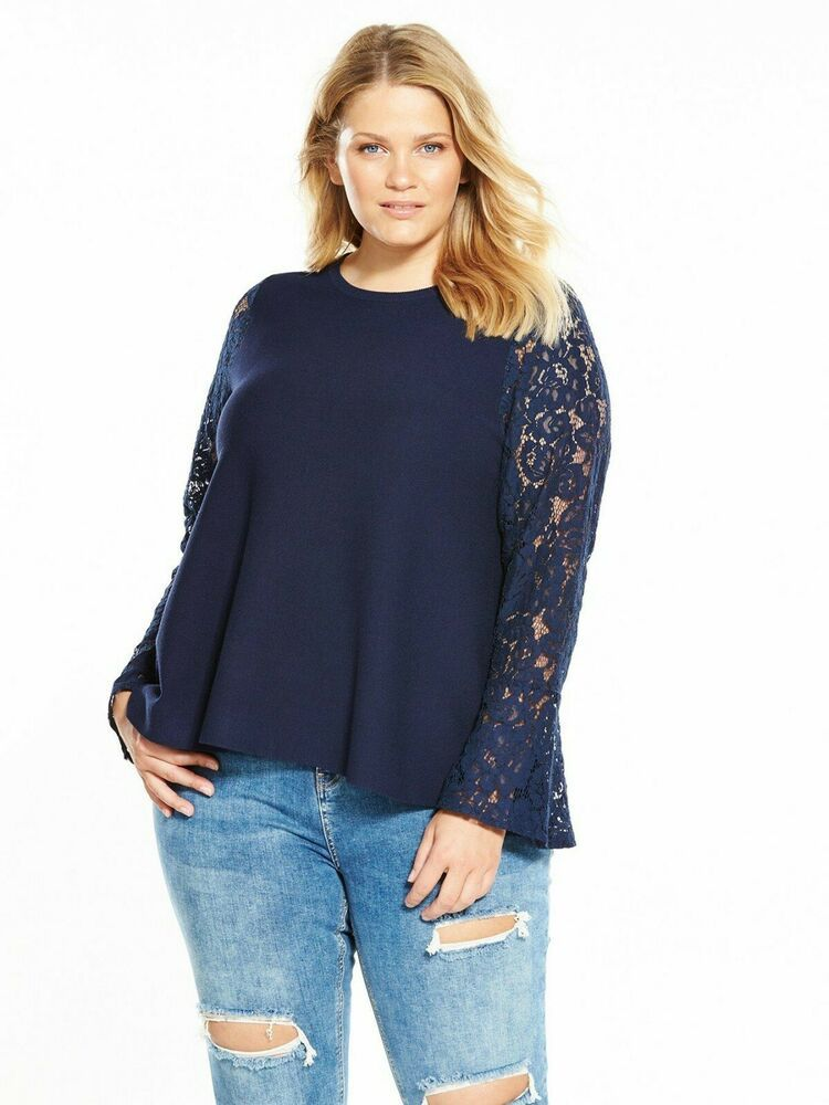 25ecc7ffb01 V by Very Curve Lace Sleeve Knitted Top Navy Size UK 20 rrp 25 DH093 ...