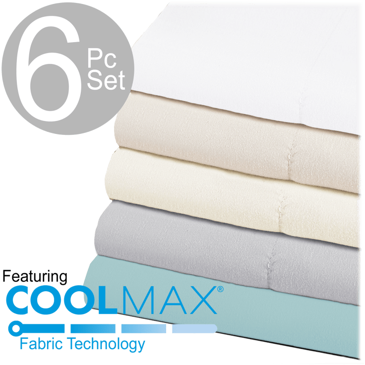 Chill Luxe 6 Piece Sheet Set With Coolmax Fabric Technology