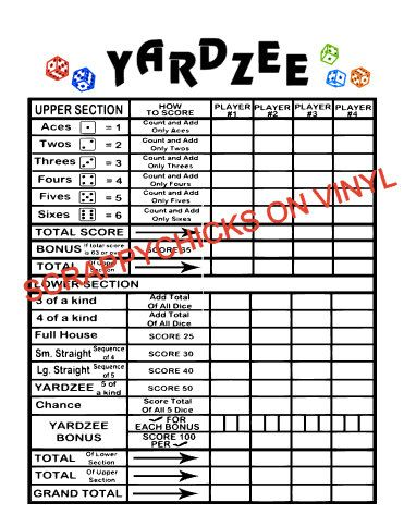Sample Yahtzee Score Sheet Free Printable Farkle Score Sheet Farkle