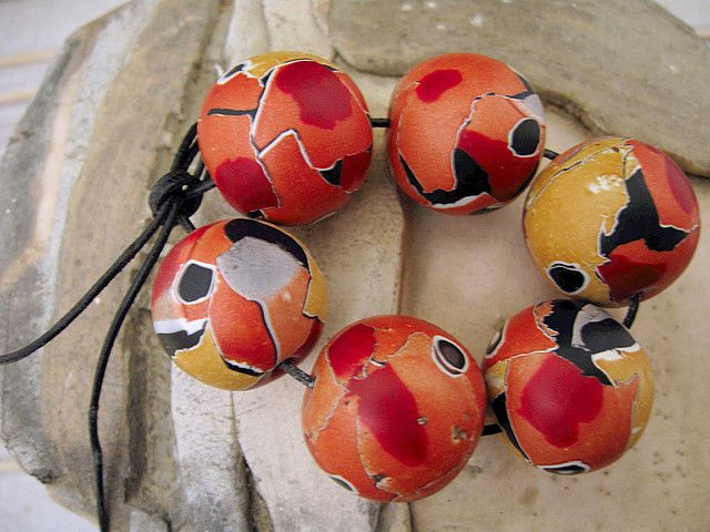 Topsy-Turvy beads, polymer clay   by Stories They Tell