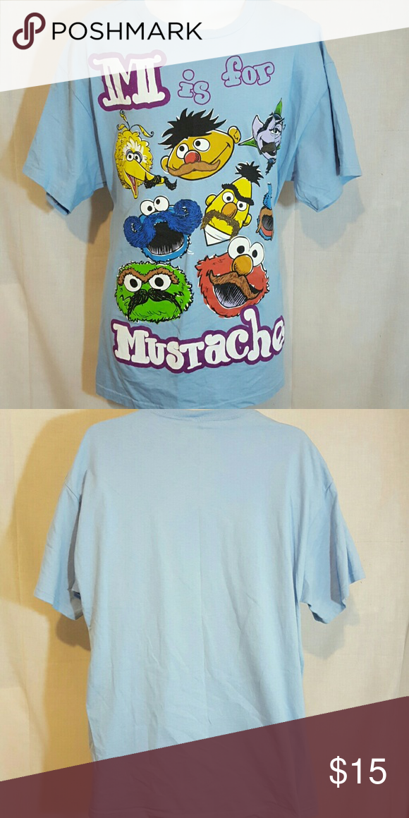 "Muppets mustaches blue XL tshirt Good condition. Measures 23"" across chest and 30"" Long from top mid shoulder to bottom hem Shirts Tees - Short Sleeve"