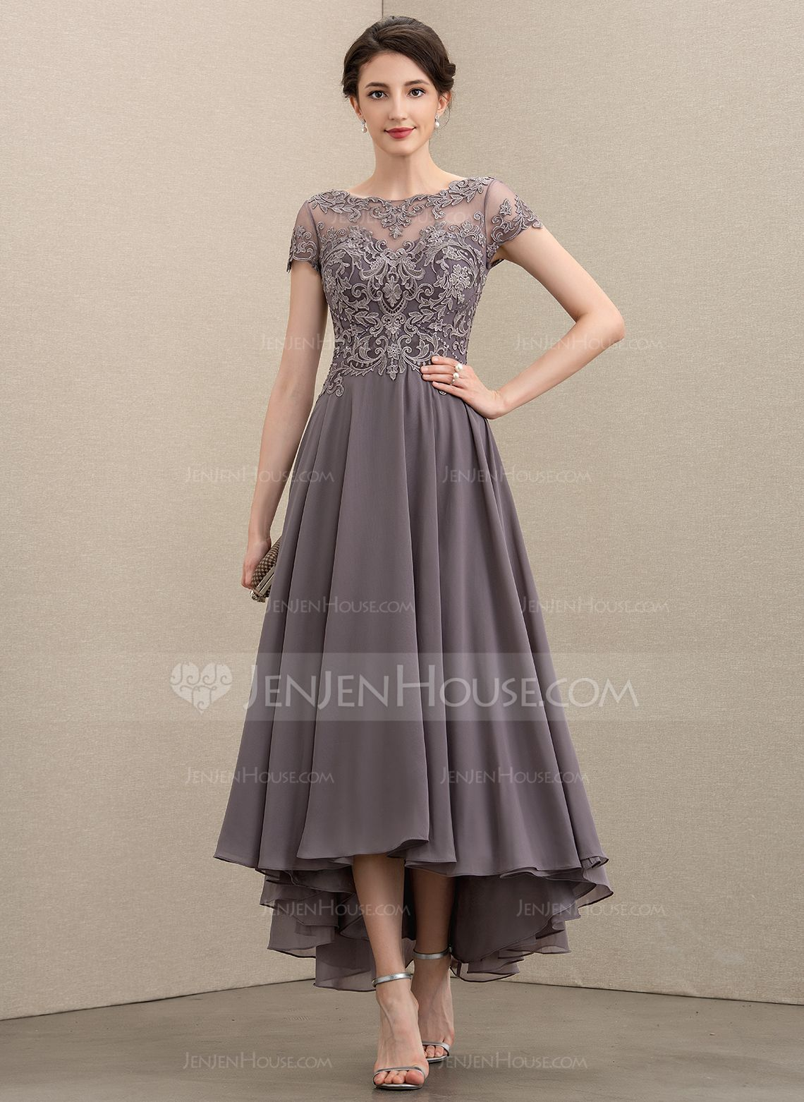 ALine Scoop Neck Asymmetrical Chiffon Lace Mother of the