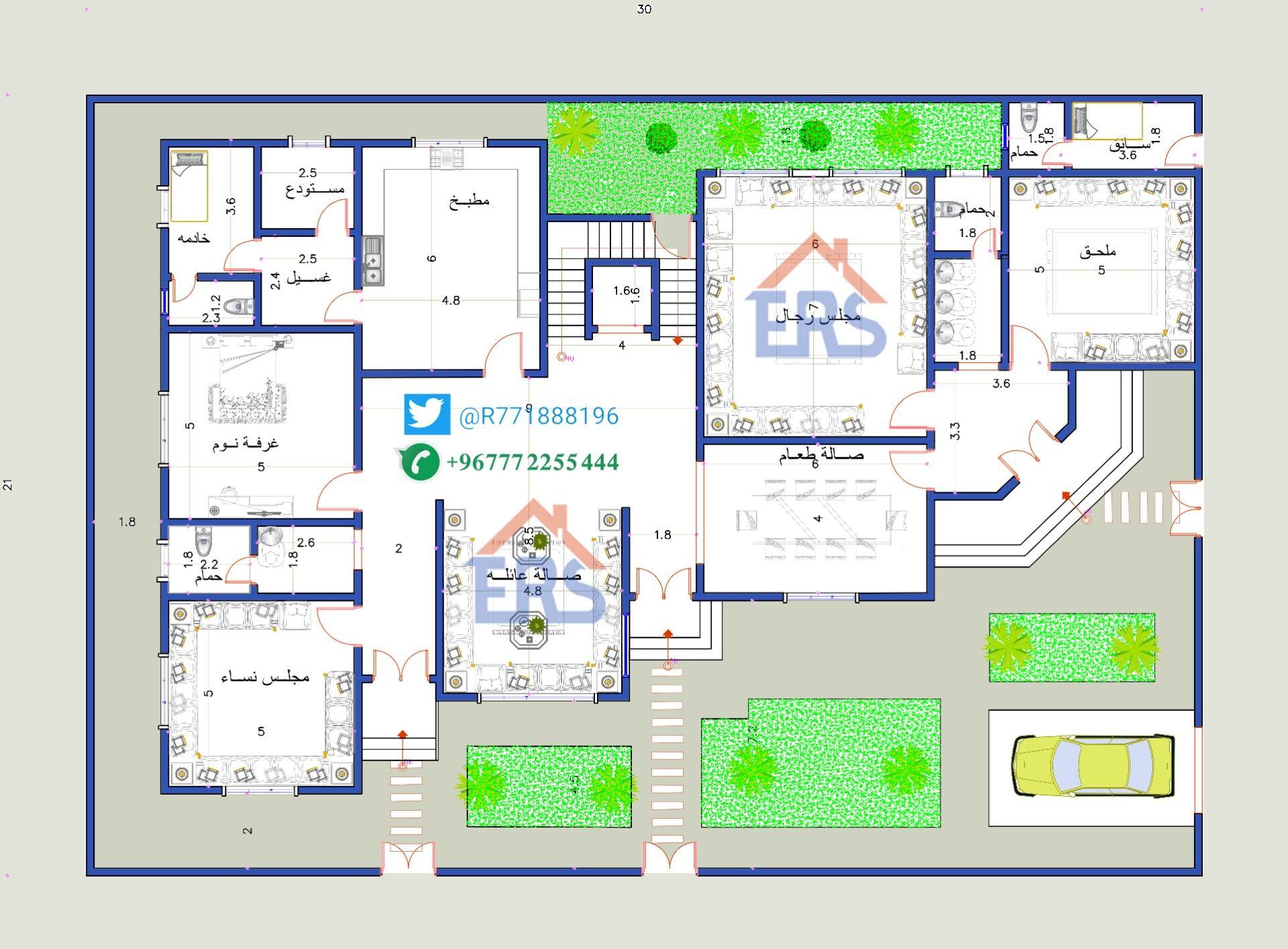 مخطط دور ارضي لفله سكنية مساحه الارض 630متر مربع 40x60 House Plans Floor Plan Design Architectural House Plans