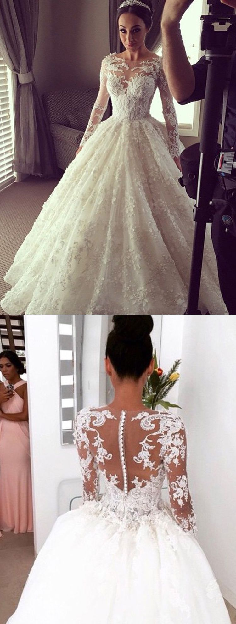 Ball gown wedding dress with bling  Elegant Ball Gown Lace Long Wedding Dress with Long Illusion Sleeves