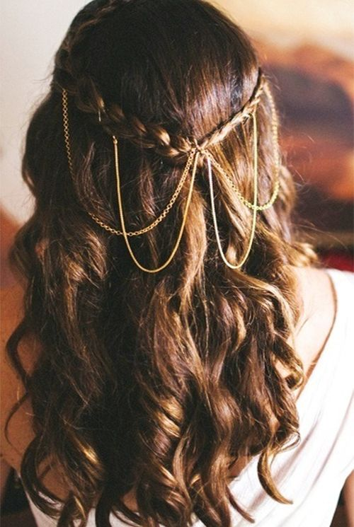 Love the use of great jewels with relaxed, but elegant hair