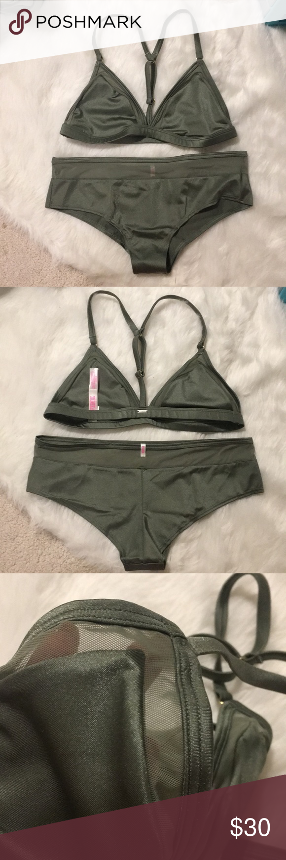 88147e5d233382 Victoria s Secret pink bra and panty set Both are new in packaging size  medium sagebrush green shine with mesh inset. 5 1 PINK Victoria s Secret  Intimates ...