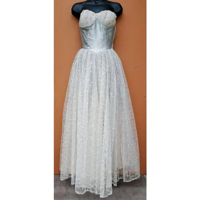 1950s Bouffant Prom Dress Lace Sequins Blue Lurex Size Extra Small ...