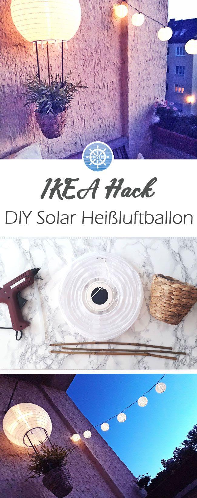 DIY Anleitung für einen schönen Solar DIY Heißluftballon, der deinen Balkon zum Strahlen bringt! -  Ikea Hack -  via aye-aye-diy.com #ikeahacks