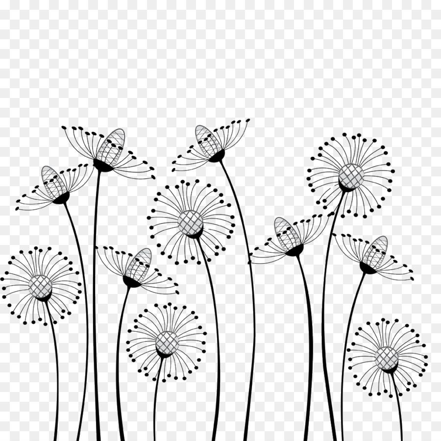 Flower Cartoon Black And White Drawing Clip Art Dandelion With