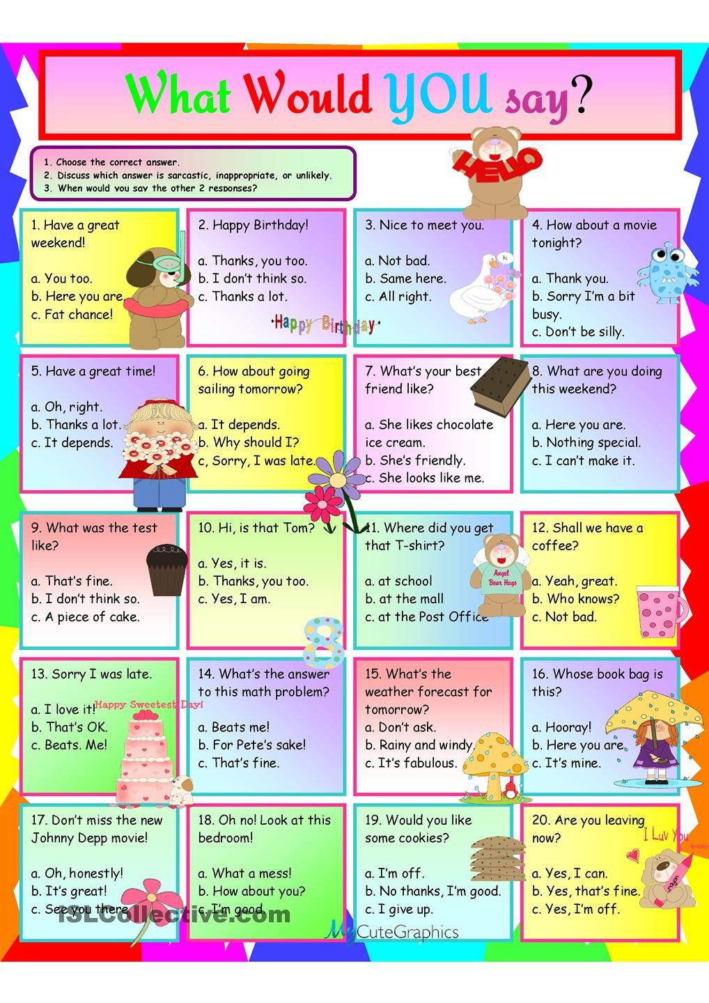 Idioms What Would You Say Teaching Social Skills Conversation Skills Social Skills Autism