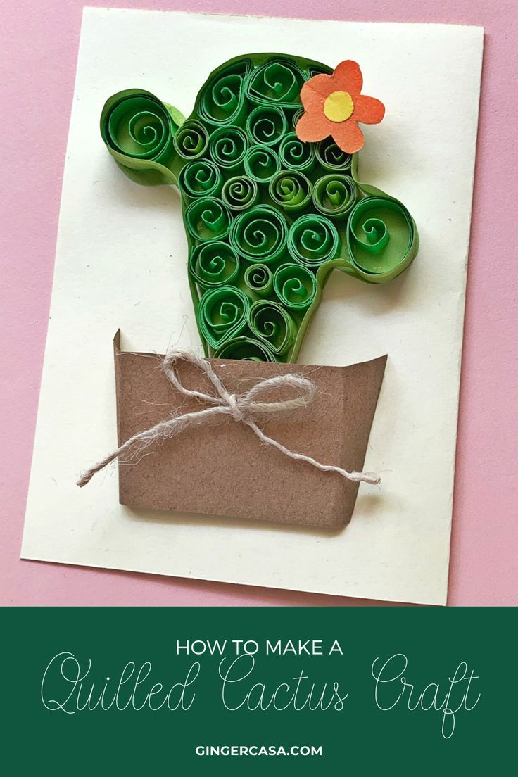 Quilled Cactus Craft for Kids or Adults - With Cactus Template