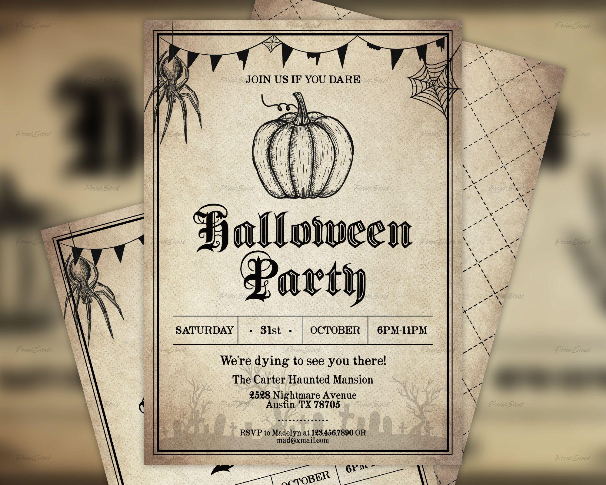 Vintage Halloween Invitation, Halloween Party Invitation