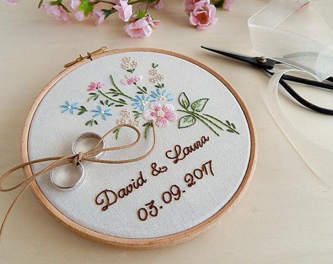 Personalized Floral Wedding Ring Bearer Flower Custom Wedding Ring Holder Floral Wedding Embro Ring Holder Wedding Wedding Embroidery Hoop Wedding Embroidery