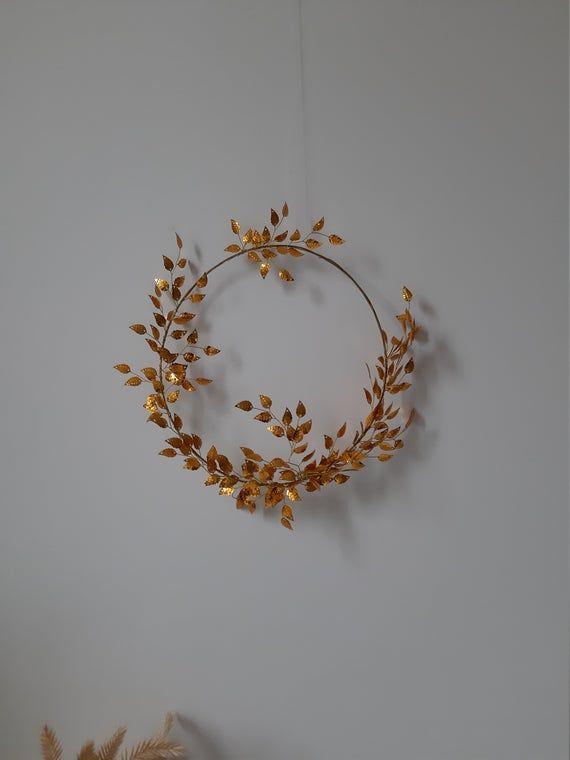 Photo of Gold leaf wall wreath boho bridesmaid hoop wreath wedding hoop wreath beauty and the beast wedding boho hoop bouquet metallic