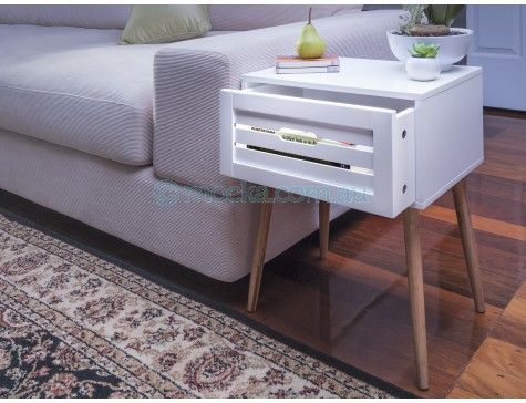 Mocka Maya Side Drawer Bedroom Furniture Living Room Table White