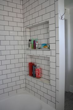 Pin By Tarah Coonan On Bathroom Remodel Ideas Recessed Shelves Shower Shelves Shower Recess