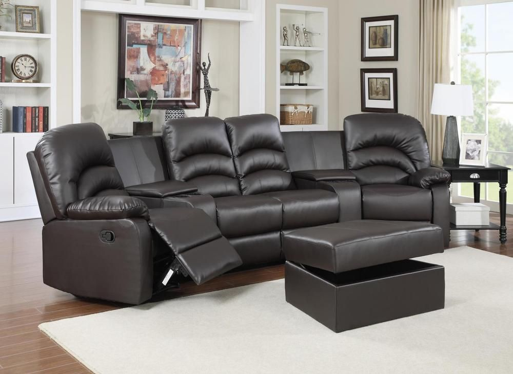 Astounding Details About Reclining Brown Leather Sectional W Ottoman Squirreltailoven Fun Painted Chair Ideas Images Squirreltailovenorg