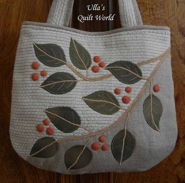 Ulla's Quilt World: Quilt bag, leafs + PATTERN