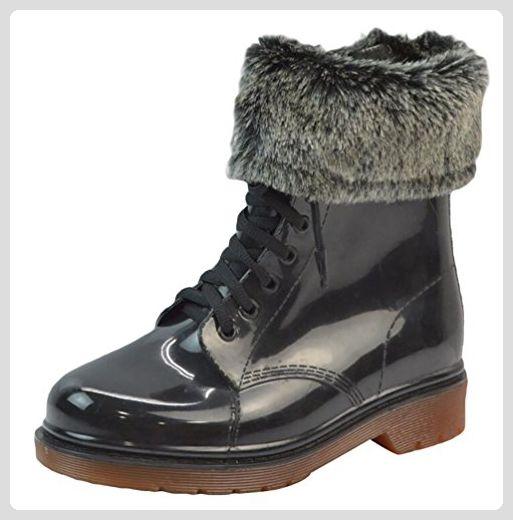 LvRao Damen Wasserdichte Schnee Regen Absatz Schuhe Garten Stiefel Knöchel Boots Kurze Regenstiefel mit Schnürsenkel Schwarz Braun mit Pelz Europäische Größe 37 GHsfViGirs
