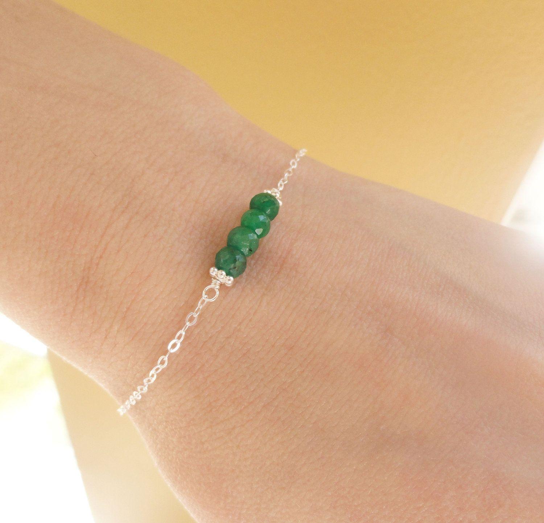 Adjustable May Birthstone Emerald Bracelet qddZQjc