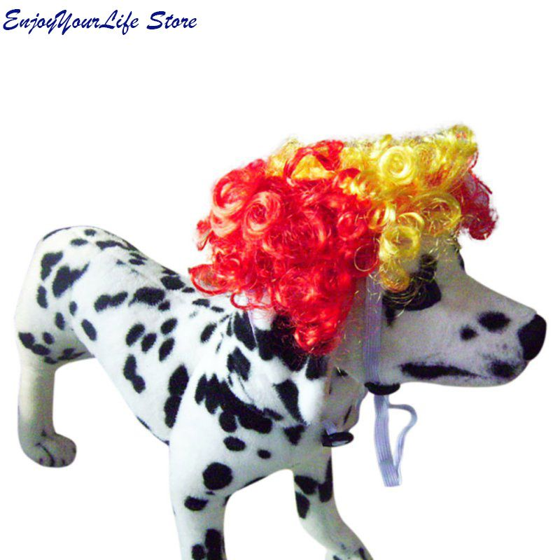 Home & Garden Sweet Soft Synthetic Hair Colorful Dog Short Curly Wig Cap For Pet Dog Cat Cosplay Halloween Costume Fancy Dress Dog Accessories
