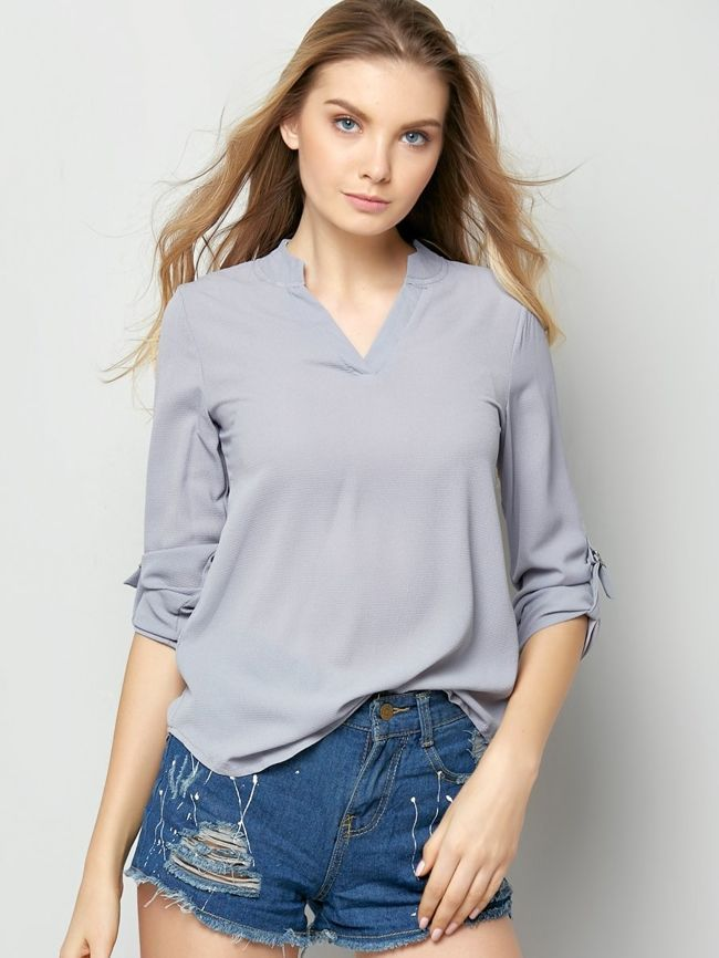 Designed Plain Chic V Neck Blouse