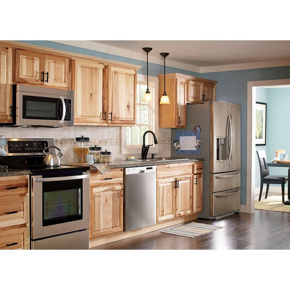 Hampton Bay Hampton Assembled 36 34 5 24 In Sink Base Kitchen Cabinet In Natural Hickory Ksb36 Nhk The Home Depot In 2020 Hickory Kitchen Cabinets Kitchen Remodel Small New Kitchen Cabinets