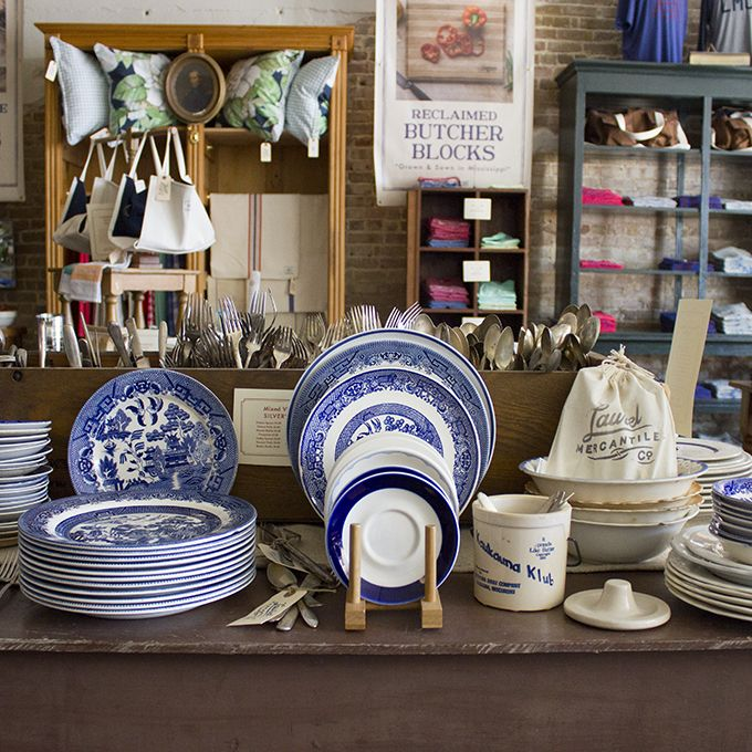 Laurel Mercantile Co. Blue Willow & vintage dishes