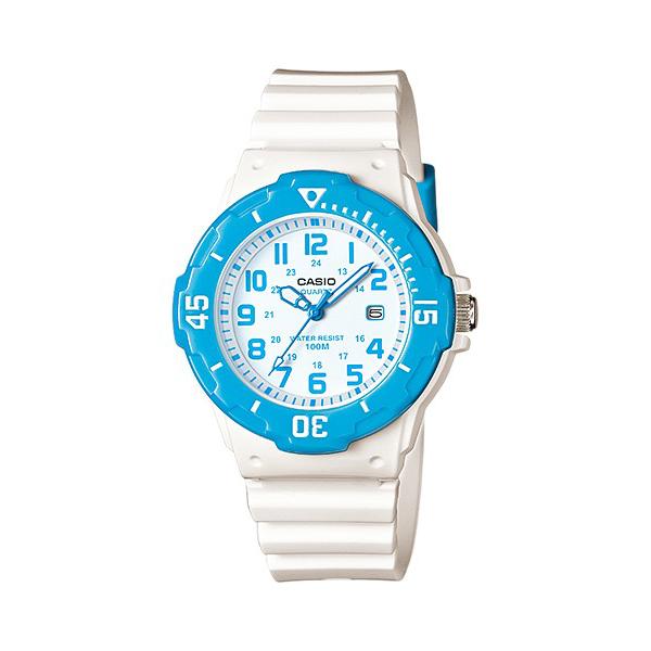 Reloj deportivo marca CASIO Correa de goma en color blanca Anillo en color Rosa o Azul
