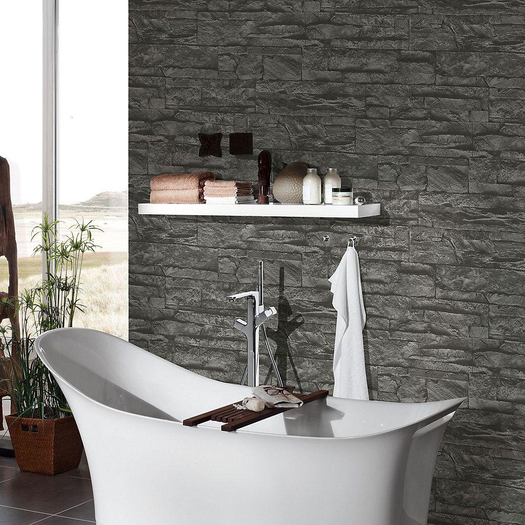 A S Creation Murano Black Stone Wallpaper Stone Wallpaper Brick Effect Wallpaper Feature Wallpaper