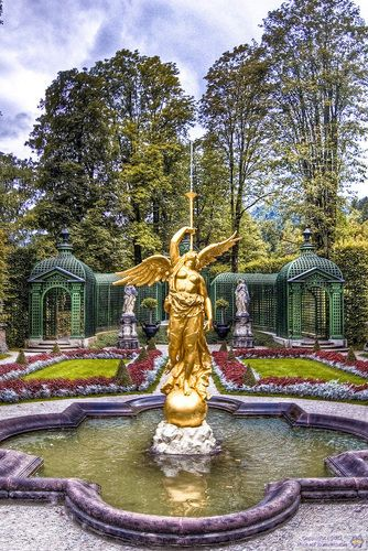 Gardens At Schloss Linderhof Highlighting The Gorgeous Arabesque Fountain And Trumpeting Angel St Water Features In The Garden Germany Castles French Exterior