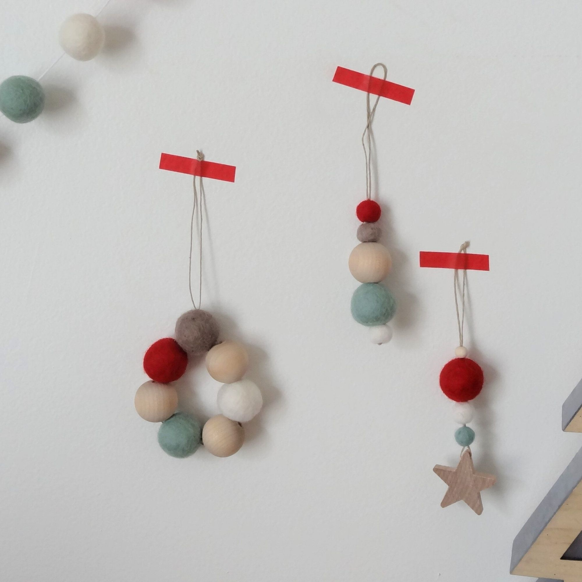 Ornement Sapin De Noel Lot de 3 ornements de Noël/ornement étoile/feutre et bois/ornement