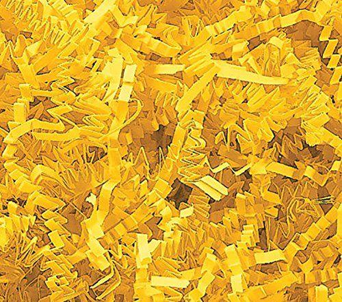 Custom /& Unique {8 Ounces} of Yellow ZigZag Crinkle Cut Seasonal Vibrant Summer Sunshine Golden Tone Style Shredded Gift Basket Filler Paper