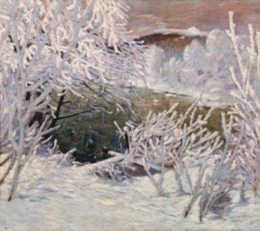 Sebastian Isepp, Kat. Nr. 242, Flussufer im Rauhfrost, 1909/10, Öl auf Leinwand 110 x 125 cm; verkauft um: € 195.300