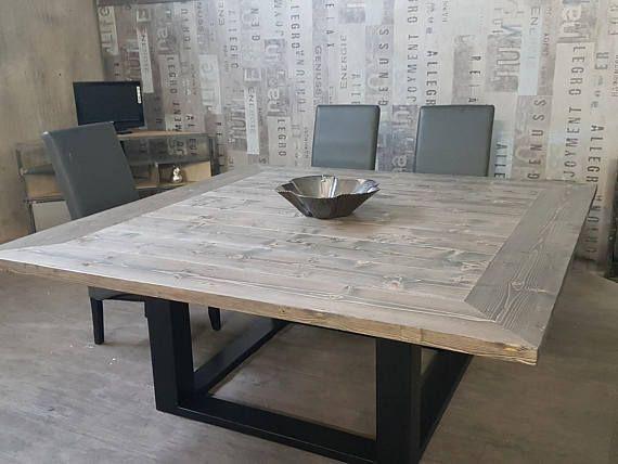 Table De Salle A Manger Industriel Pied Centrale En Acier Plateau