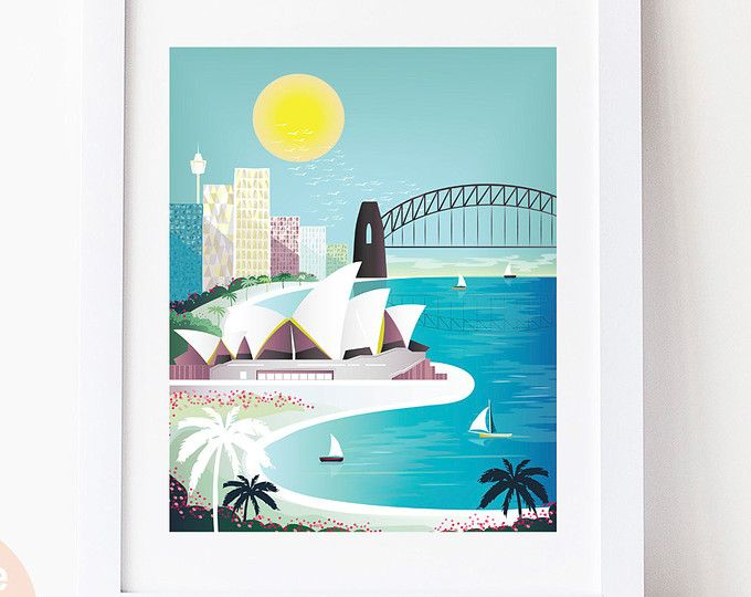 Sydney Print - Sydney Skyline, Wall Art Prints, Opera House Harbour ...