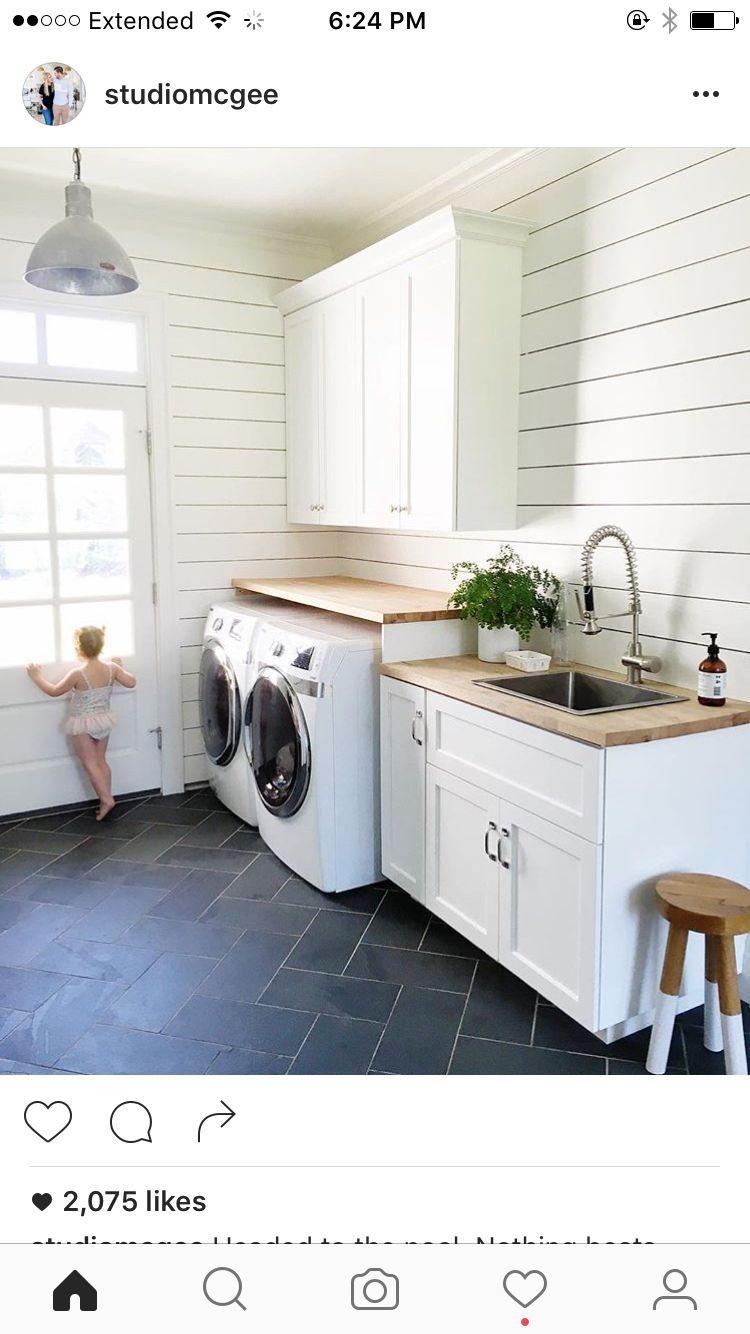 Flooring Wood Countertops White Cabinets Laundry Room Tile