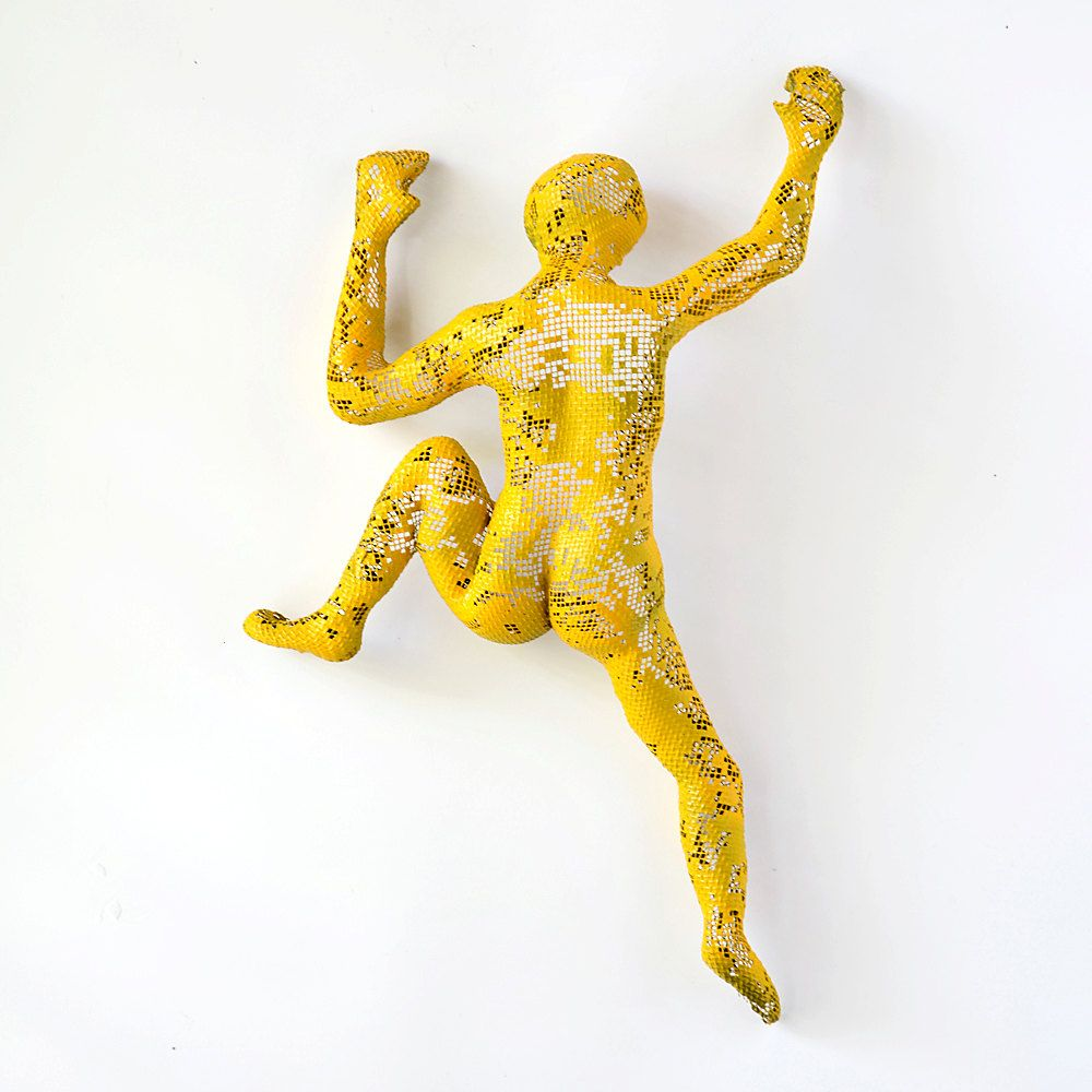 Contemporary metal wall art - Climbing man sculpture - wire mesh ...