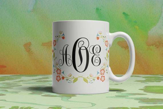 Coffee Mug Custom Mug Initial Floral Wreath Monogram Coffee Mug, Birthday Gift, Personalized initial #custommugs