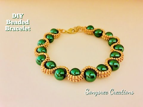 Herringbone Beaded Bracelet .How to make beaded bracelet DIY Bracelet �