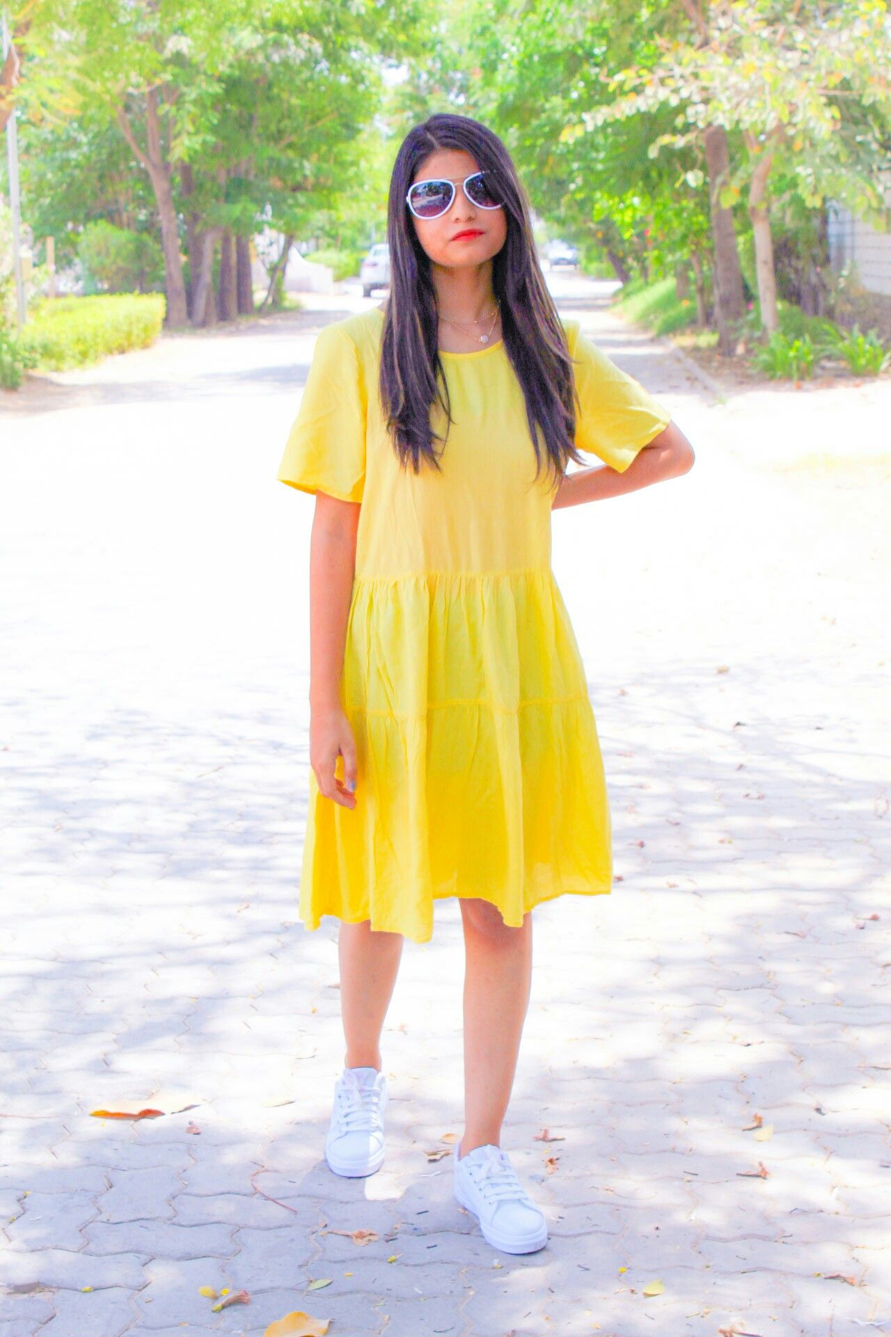 summer outfit idea  how to match a yellow dress with