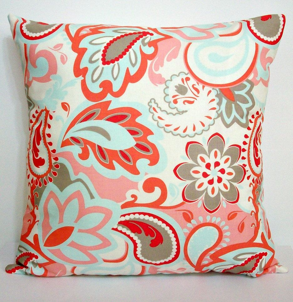 Coral Bed Throw Pillows : Throw Pillow Cover 16x16 Cotton Couch Toss Accent Bed Decorative Verona Floral Paisley Riley ...