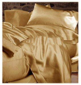 Champagne Gold Soft Silk Satin Bed Sheet Set