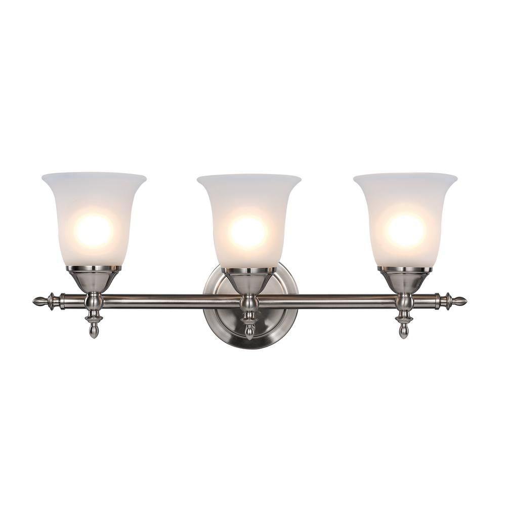 Hampton Bay Olgelthorpe 3 Light Brushed Nickel Bathroom Vanity Light With Bell Shaped Frosted Glass Shades Nb39302 Trans Globe Lighting Bel Air Lighting