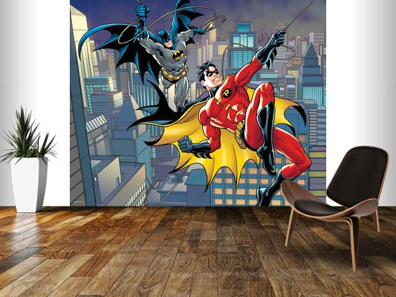 Dc comics batman and robin rope swing wall mural room for Batman bedroom wall mural