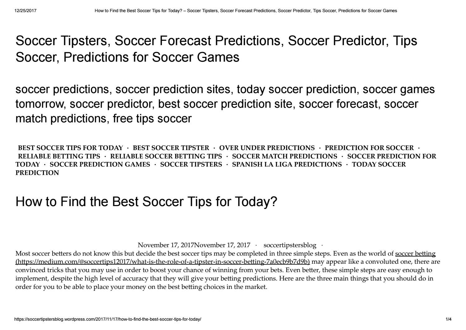 How to find the best soccer tips for today   Soccer