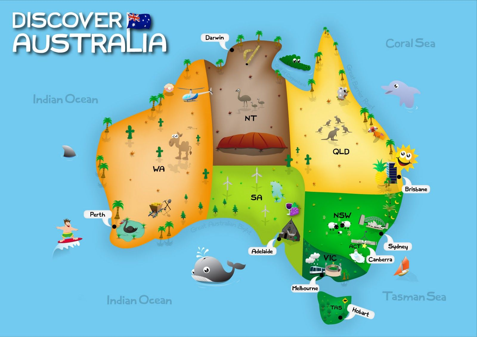 image result for map of australia for kids